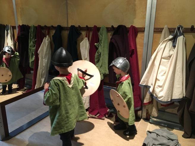 Dressing up as Vikings at Yorkshire Museum