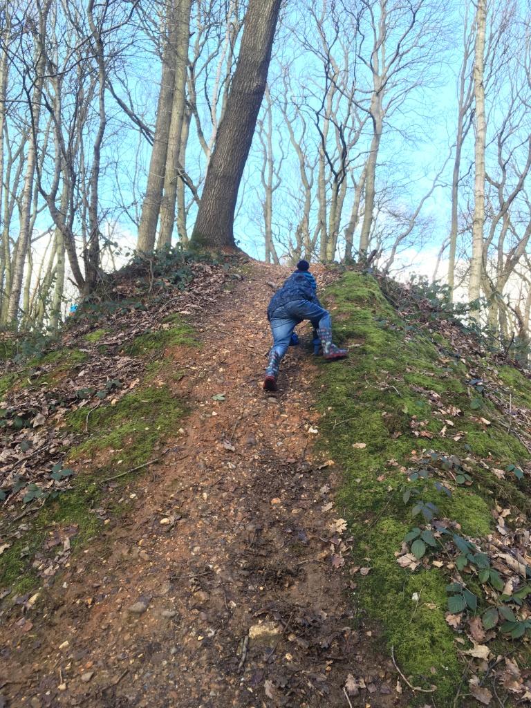 Summitting a muddy slope at Mardley Heath